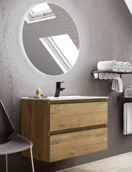 Ambiente baño con espejo redondo LED 80 cm.
