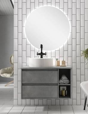 Ambiente cuarto de baño con espejo redondo LED 80 cm.