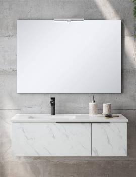 Ambiente baño con espejo liso 100 x 70 más aplique