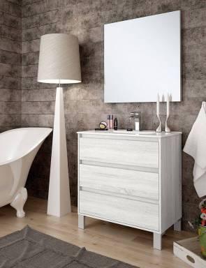 Ambiente baño con espejo liso 80 x 70 cm.