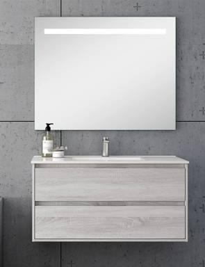 Ambiente baño con espejo LED 100 x 80 cm.