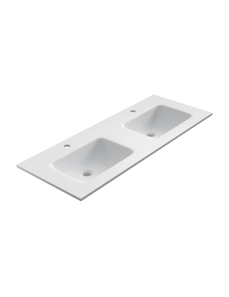 Lavabo Doble Solid Surface 120 Blanco Mate